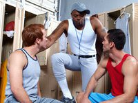 Awesome threesome gay videos in the locker room