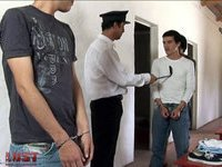 Prison guard examines young convicts' awesome bottoms